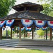 Bandstand with bunting - Stock Photo