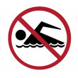 Sign - no swimming — Stock Photo