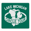 Road sign - Lake Michigan circle tour — Stock Photo