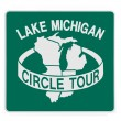 Stock Photo: Road sign - Lake Michigan circle tour