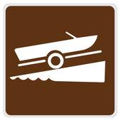 Sinal de trânsito - barco marrom lançamento — Fotografia Stock