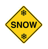 Road sign - snow with flakes — Stock Photo