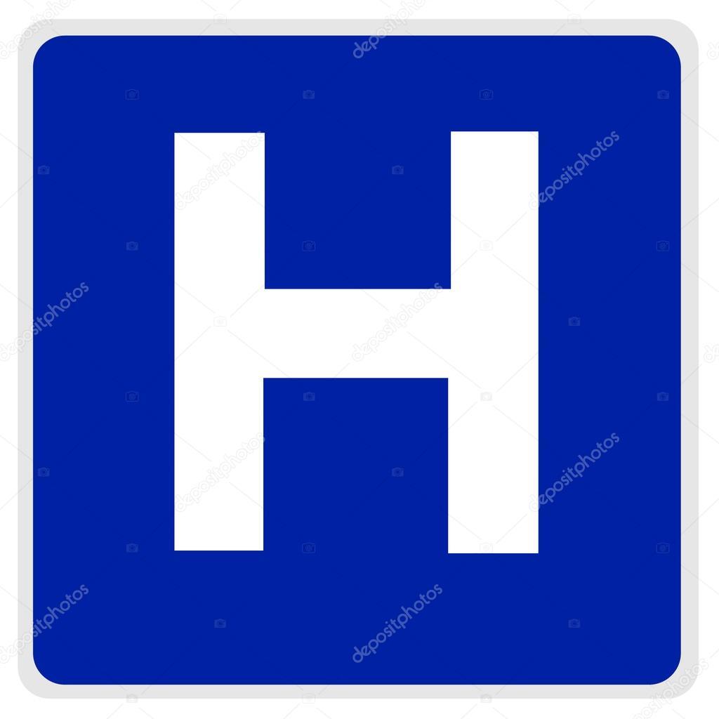 panneau de signalisation h pital bleu photographie smontgom65 12053511. Black Bedroom Furniture Sets. Home Design Ideas