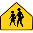Road sign - school crossing — Stok fotoğraf