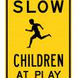 Road sign - slow children at play — 图库照片