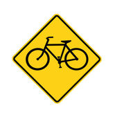 Road sign - bike crossing, isolated — Stock Photo
