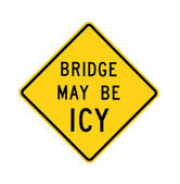 Road sign - bridge may be icy, isolated — Stock Photo