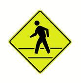 дорожный знак - пешеходный переход с линиями флуоресцентные — Стоковое фото