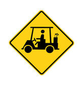 Road sign - golf cart crossing — Stock Photo