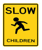 Road sign - slow children — Stock Photo