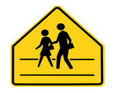 Road sign - school crossing — Stock Photo