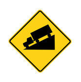 Road sign - truck downhill — Stock Photo