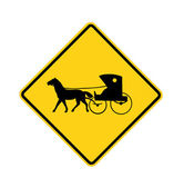 Road sign - Amish buggy and horse — Stock Photo