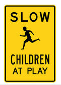 Road sign - slow children at play — Stock Photo