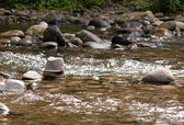 Derby hat on rock in river — Stock Photo