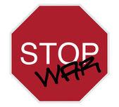 Sinal de stop - parar a guerra — Fotografia Stock