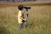 Yellowstone prairie nature lover — Stock Photo
