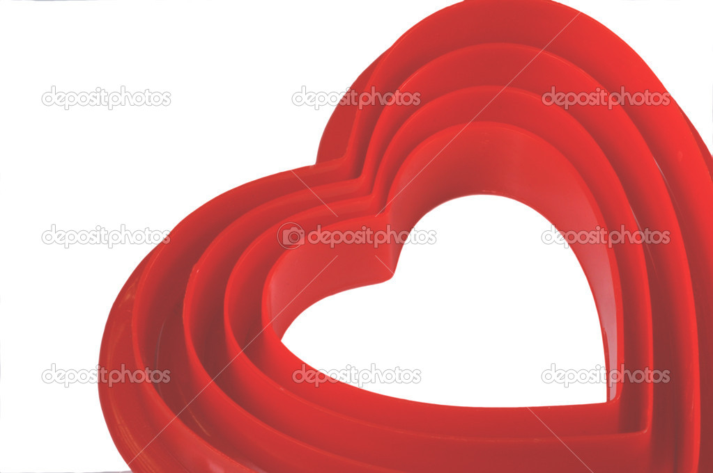 Valentine 4 hearts nesting within each other, isolated on white — Stock Photo #12075127