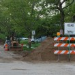 Road closed - construction with equipment and signs — Stock Photo #12136242