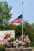 Memorial day - Boy scouts respect the flag — Stock Photo