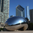Stock Photo: Cloud Gate, with Crain and Trump buildings
