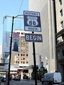 66 号公路开始标志芝加哥 — 图库照片