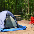 Campsite with chairs and tent — Stock Photo