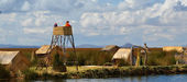 Lake Titicaca watch tower watchers — Stock Photo