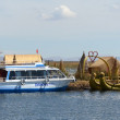 Stock Photo: Lake TIticactourist boat and totorboat at reed island