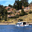 Stock Photo: Tourist boat in Amantani on Lake Titicaca