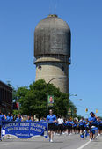Lincoln High School marching band at the Ypsilanti, MI 4th of Ju — Stock Photo