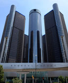 Renaissance Center, Detroit, street side — Stock Photo