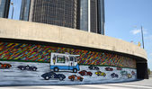 Da Race Detroit! 2014 mural in Detroit, MI — Stock Photo