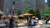 People enjoying Campus Martius park in Detroit, MI — Stock Photo
