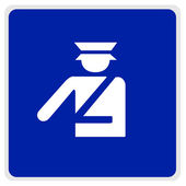 Road sign - blue - police officer — Stock Photo