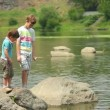Boys at the river — Video Stock