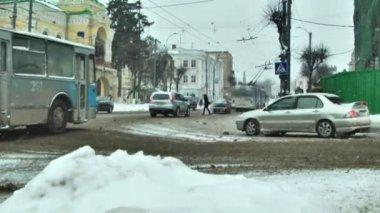 Kış trafik — Stok video