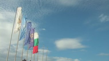 Hang five flags, including: European Union flag, United Nations flag, Bulgaria flag