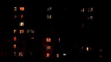 Windows of the night city — Stock Video