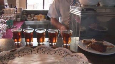 Barman make tea — Stock Video