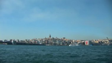 Bosphorus view of Galata Tower — Stock Video
