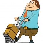 Fat guy pushing cart — Stock Vector