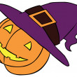 Stock Vector: Pumpkin in Witch Hat