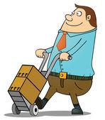 толстый парень нажав корзину — Cтоковый вектор