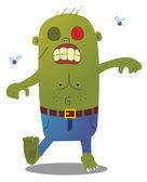 Walking Green Zombie — Stock Vector