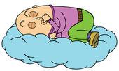 Sleeping on Cloud — Stock Vector