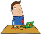 Man using laptop — Stock Vector