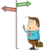 Right and wrong way — Stock Photo