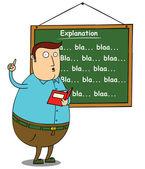 Fat teacher explaining subject — Stock Photo