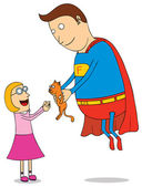 Super hero saving kitty — Stock Photo